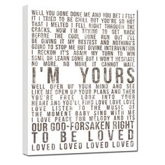 Really need to figure out how to make this myself!!  Word Art lyrics favorite song Wedding vow by GeezeesCustomCanvas, $140.00