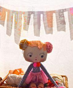 Hand made rag doll girls toy pink baby yoyo by JessQuinnSmallArt, £67.00
