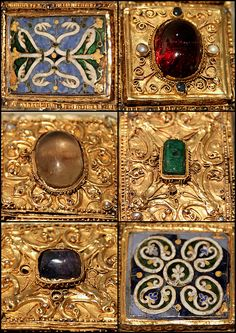 Victoria and Albert Museum, From newly opened Renaissance Medieval rooms  Enamelled plaques about 980-1000 Manuscript about 1025-50 Binding about 1180-1200  Thought to be a gift from -Emperor Charlemagne