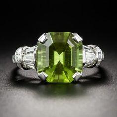 Peridot Platinum and Diamond Ring - Vintage Gemstone Engagement Rings - Vintage Engagement Rings