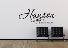 Family Name Wall Decal - Personalized Family Wall Decal - Last Name Wall Decal - Vinyl Wall Decal - Family Vinyl Lettering by NewYorkVinyl on Etsy https://www.etsy.com/listing/190750932/family-name-wall-decal-personalized