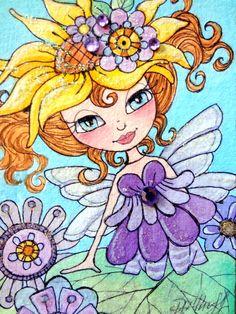 ORIGINAL ACEO Fairy Watercolor Painting - Flower Hat - Fairy Art Flowers