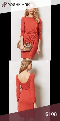 """Anthropologie / Ganni rusty red stretch  Dress"""" L Anthropologie / Ganni rusty red stretch rayon jersey """"Knotted Jersey Dress""""  Stretchy jersey pullover styling for an easy fit & effortless Glam works every time for a pulled together look With flattering side ruching, Ganni's jersey dress is a throw-on-and-go secret weapon.          New Without Tags  *  Size: Large                  retail price:  $138.00         95% viscose * 5% elastane                        Falls approx. 35.5"""" from…"""