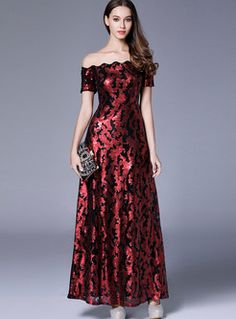 Red sparkly dress with off shoulder maxi dress Black Sparkly Dress, Long Sequin Dress, Sparkly Dresses, Dress Long, Formal Dresses Online, Dresses For Sale, Cheap Party Dresses, Prom Dresses, Long Dresses