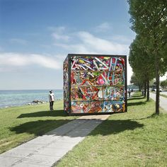 Artist James Dive compressed an entire amusement park into a four-meter cube. He took rides, bumper cars, and carnival prizes and compacted them into the colorful sculpture, which is on display at Sculpture by the Sea in Aarhus, Denmark, through July 1.