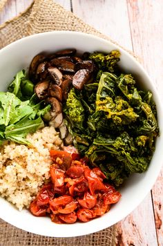 Comforting and Cozy Fall Power Bowl... Changes to try: Organic brown rice tossed with tamari & olive oil, shredded carrots & beets, braised kale, marinated baked tofu, with a lemon tahini sauce and sesame seeds.