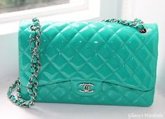 Chanel classic flap bag in turqois