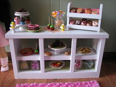 """Bakery Counter with Cupcake Stand and Donut/Cookie Display - Sweet Shop Cafe / Bakery Set for American Girl /18"""" dolls - MARCH SHIPPING. $110.00, via Etsy."""