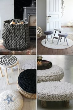 warm cozy knits & crochet items for the home by the style files - poufs, stool covers, baskets Crochet Home, Knit Crochet, Knitting Projects, Crochet Projects, Stool Covers, Deco Originale, Home And Deco, Warm And Cozy, Home Accessories