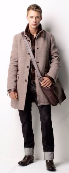Taupe Wool Overcoat, Leather Satchel, and Cuffed Selvedge Denim Jeans. Mens Fall Winter Fashion.