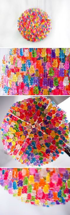 The Candelier by Kevin Champeny made out of 3000 acrylic gummy bears. Neat! #Kidsdinge