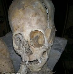 Alien mummy found in Peru: A mummified elongated skull found in Peru could finally prove the existence of aliens. The strangely shaped head, almost as big as its 20in body, large eye sockets and teeth with non-human characteristics, has baffled anthropologists. It was one of two sets of remains found in the city of Andahuaylillas in the southern province of Quispicanchi.