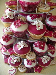 red and white cupcakes and cookies