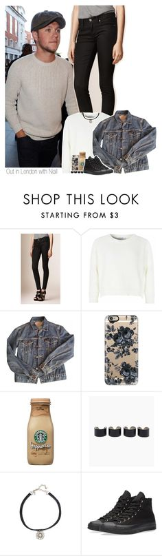 """""""Out in London with Niall"""" by shefi-22 ❤ liked on Polyvore featuring Payne, Burberry, Glamorous, Levi's, Casetify, Maison Margiela, Vanessa Mooney and Converse"""