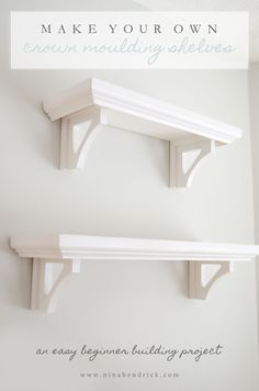 Cool Woodworking Tips - Build Your Own Crown Moulding Shelves - Easy Woodworking Ideas, Woodworking Tips and Tricks, Woodwo . Easy Woodworking Ideas, Woodworking Projects, Woodworking Furniture, Woodworking Apron, Woodworking Basics, Woodworking Lathe, Woodworking Magazine, Woodworking Classes, Woodworking Videos