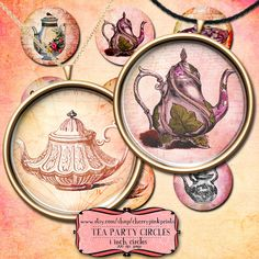 Great set of 9 tea party circles. Great to print out at home and craft with! make your own party printables!