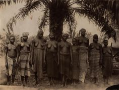 Group of women - West Africa]  Creator: H. Hunting Title: [No Title] Date: [between 1910 and 1913] Extent: 1 photograph: black and white (15 x 20cm) Notes: No title or caption Picture shows a group of women under a tree in West Africa.