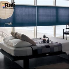 """Bali DiamondCell 3/8"""" Double Cell Shade in Navy. This sleek window shade has a thin line headrail and is offered in distinctive fabrics that are rich in texture."""