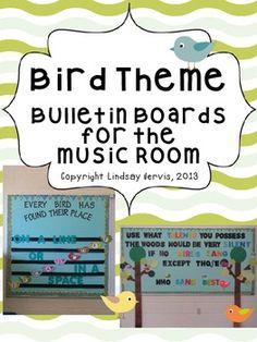 Bird Themed Bulletin Boards for the Music Room: Prinatable