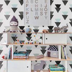 Papel de parede geométrico triângulos preto, cinza e azul 019