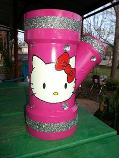 Hello kitty diy blowdryer straightener holder made from pvc pipe