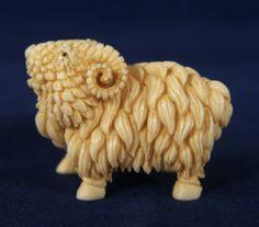 Old Finely Carved Japanese Netsuke Sheep RAM Signed | eBay