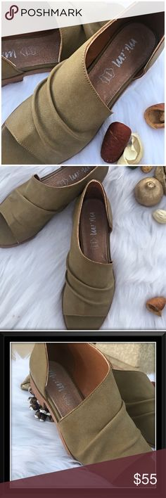 🆕Riley flats Vegan Suede Taupe flat with one open side. genuine leather sole, suede is vegan. Super Cute and trendy with shorts, jeans, dresses, or skirts! Very versatile shoe and extremely comfortable. Run a half size big so order a half size below what you wold normally wear. Mi.iM Shoes Flats & Loafers
