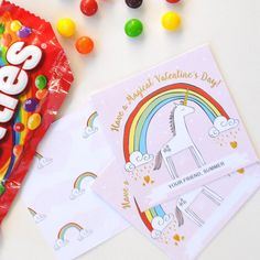 Cute with Skittles! Valentines Day Party, Valentines For Kids, Valentine Day Cards, Valentine Ideas, School Supply Labels, Rainbow Unicorn, Kid Names, Favor Tags, Holiday Crafts
