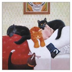 This is one of Vicky Mounts paintings featuring cats. There's a lot to look at and she knows their whims and wiles...The dog is bringing him a bone. 'Call of the Wild' title.pic.twitter.com/0M4D5olCAL