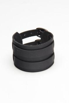 Amigaz black leather wrist cuff, 2 buckles - $13