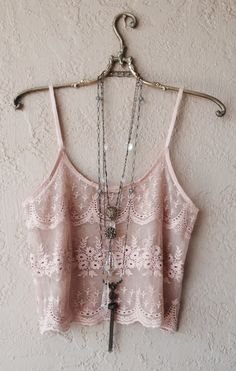 Image of Romantic gatsby sheer lace crop camisole for summer coachella festival