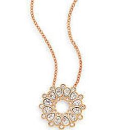 NIB Swarovski Asset Necklace Rose Gold-Plated Floral Crystal Necklace #swarovski #pendantnecklacechain