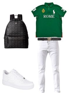 """sum mo polo"" by sosababy1201 ❤ liked on Polyvore featuring Dsquared2, Versace, NIKE, MCM, men's fashion and menswear"