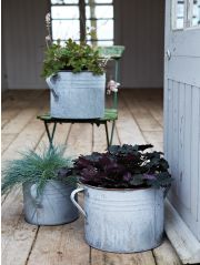 Three Aged Zinc Planters NEW