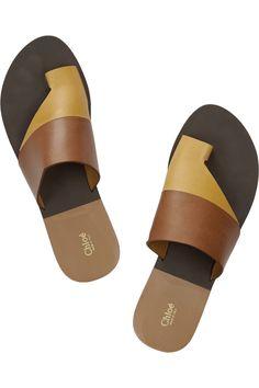 Chloé|Two-tone leather sandals|NET-A-PORTER.COM
