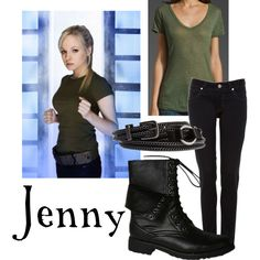 """Jenny"" by companionclothes on Polyvore. She reminds me of her ""Dad"" in his War Doctor or 9th doctor regenerations"