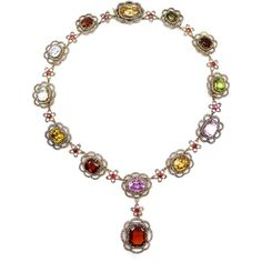 19th century coloured gem and diamond cluster necklace, c.1880 ($71,285) ❤ liked on Polyvore featuring jewelry, necklaces, gem pendants, gemstone jewelry, pendants & necklaces, gem necklace e gemstone pendant necklace