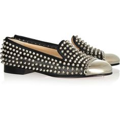 Christian Louboutin Glitz studded leather slippers ($1,295) ❤ liked on Polyvore