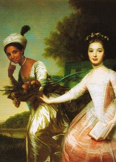 Hangs in Scone Palace, Perth, Scotland. Dido Elizabeth Belle and her cousin, Lady Elizabeth Murray.  Jane Austen met Elizabeth after her marriage at Jane's brother Edward Knight's home. Sadly, she found her a bit dull.