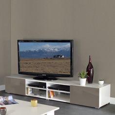 meuble tv 4 niches 2 tiroirs en bois l185xp42xh31cm glossy - Meuble Tv Blanc Glossy