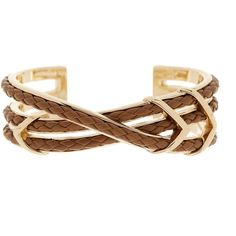 Cole Haan Chevron & Leather Braided Cuff ($45) ❤ liked on Polyvore featuring jewelry, bracelets, goldt, leather cuff jewelry, chevron jewelry, cole haan, braid jewelry y chevron bangles