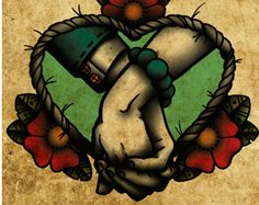 Forever After, Holding Hands, Neo-Traditional Tattoo Flash, Old School, Art Print 12x16