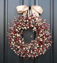 holly berry wreath on door