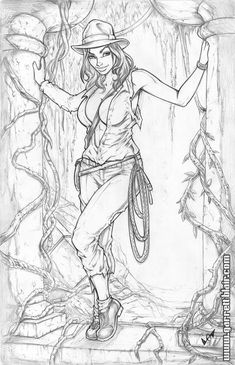 Pencils for a Bodyshots called 'Adventure' - a sexy pinup version of the Temple of Doom advance poster bristol stock Adventure pencils Sexy Drawings, Art Drawings, Comic Books Art, Comic Art, Drawn Art, Black White Art, Girl Sketch, Coloring Book Pages, Fantasy Girl