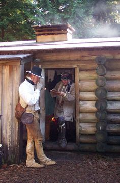 Historical reenactors at Fort Clatsop, Astoria, Oregon, the end of the Lewis and Clark trail. After crossing the continent, the expedition wintered here in Lewis And Clark Trail, Seaside Oregon, William Clark, Astoria Oregon, Longhunter, Old Fort, State Of Oregon, Mountain Man, Forts