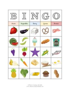 Food Group Bingo - Nutrition Education by What's Cooking with Kids Nutrition Education, Gym Nutrition, Nutrition Classes, Nutrition Activities, Holistic Nutrition, Proper Nutrition, Nutrition Guide, Nutrition Plans, Nutrition Tracker