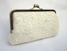 Pearled Pretty-- Lace Bridal Clutch (Ivory)  I want this!