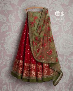 Swati Manish SMF LEH 321 17 Dark cherry sequin lehenga with pear floral threadwork dupatta and green threadwork blouse Half Saree Lehenga, Lehenga Gown, Lehnga Dress, Indian Lehenga, Bridal Lehenga, Sarees, Anarkali, Pakistani, Indian Wedding Fashion
