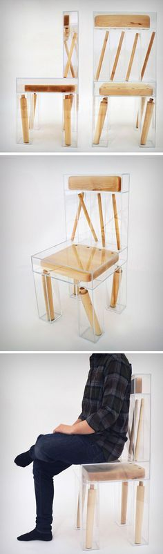 The Exploded Chair ushers in a new age for Design, an age of Form following Expression! Functionally still a chair, the Exploded Chair is a visual break-down of the very idea of the chair. Taking a wooden chair and splitting it into its various parts, and then putting those parts into separate acrylic boxes.