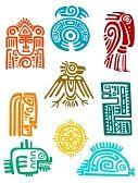 mayas : Elementos de los antiguos mayas y símbolos conjunto de diseño religioso. Vector illustation Vectores